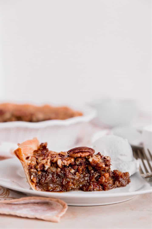 pecan pie slice on white plate