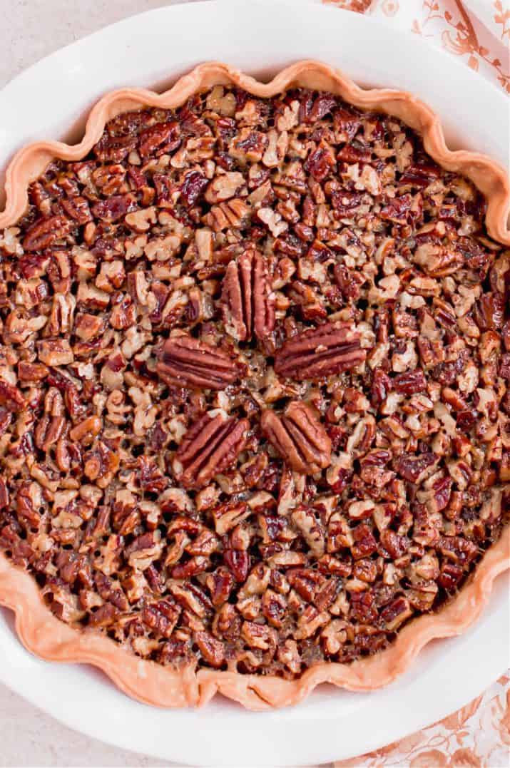 pecan pie with Kahlua, overhead and close up