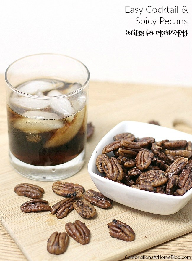 Easy entertaining recipes - cola cocktail and spicy pecans