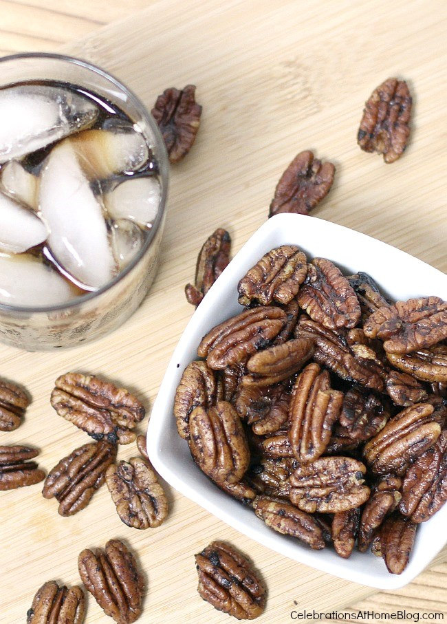 Easy entertaining recipes - smoky spicy pecans in white bowl overhead view