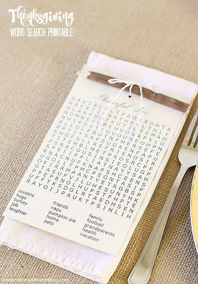 Thanksgiving place setting plus FREE printable Thanksgiving word search