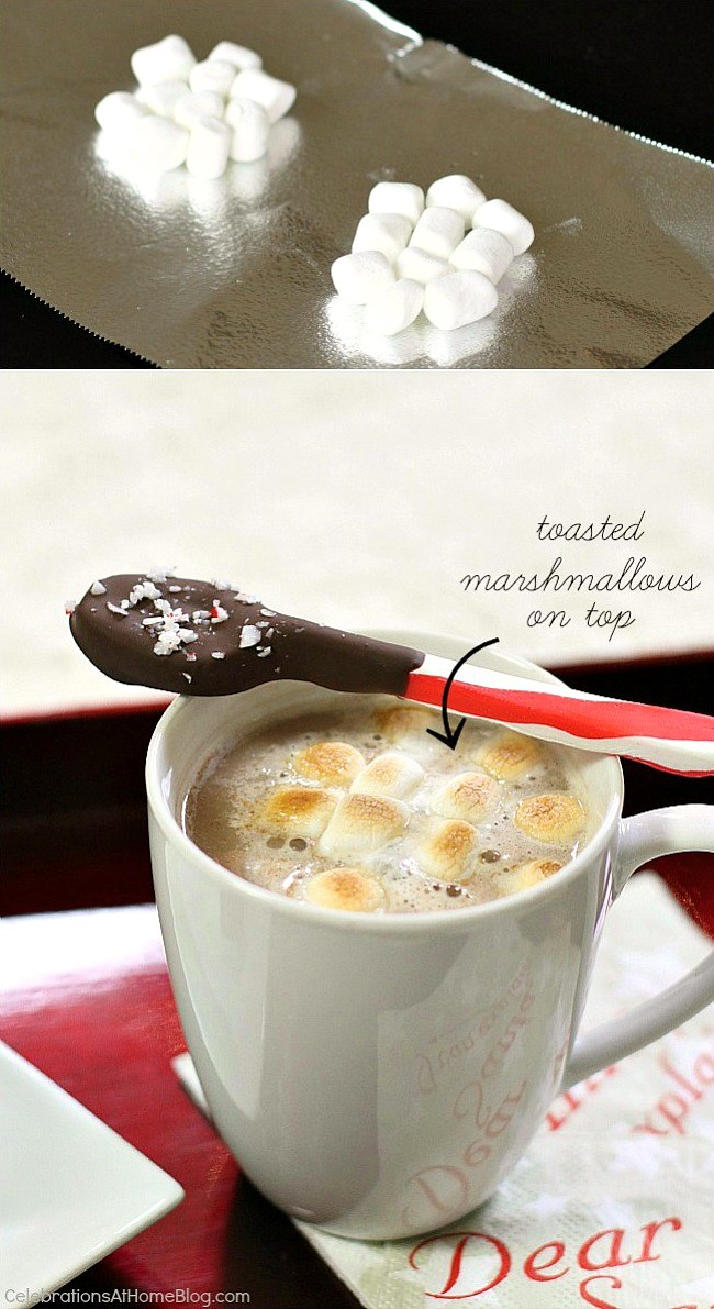 To accommodate your peppermint oreo truffles, serve hot cocoa topped with toasted marshmallows. Directions here.