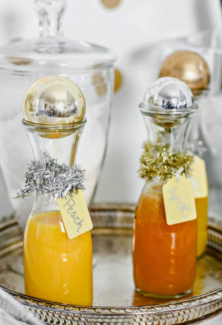juices in glass bottle for a champagne bar