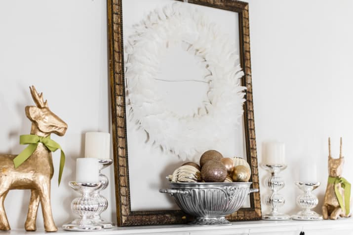 simple gold and silver Christmas mantel decorations