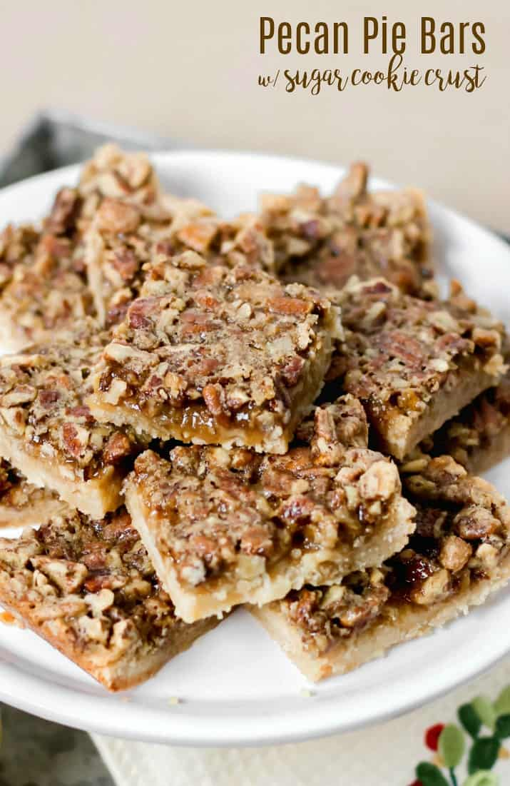 easy pecan pie bars with sugar cookie crust on white dish with text