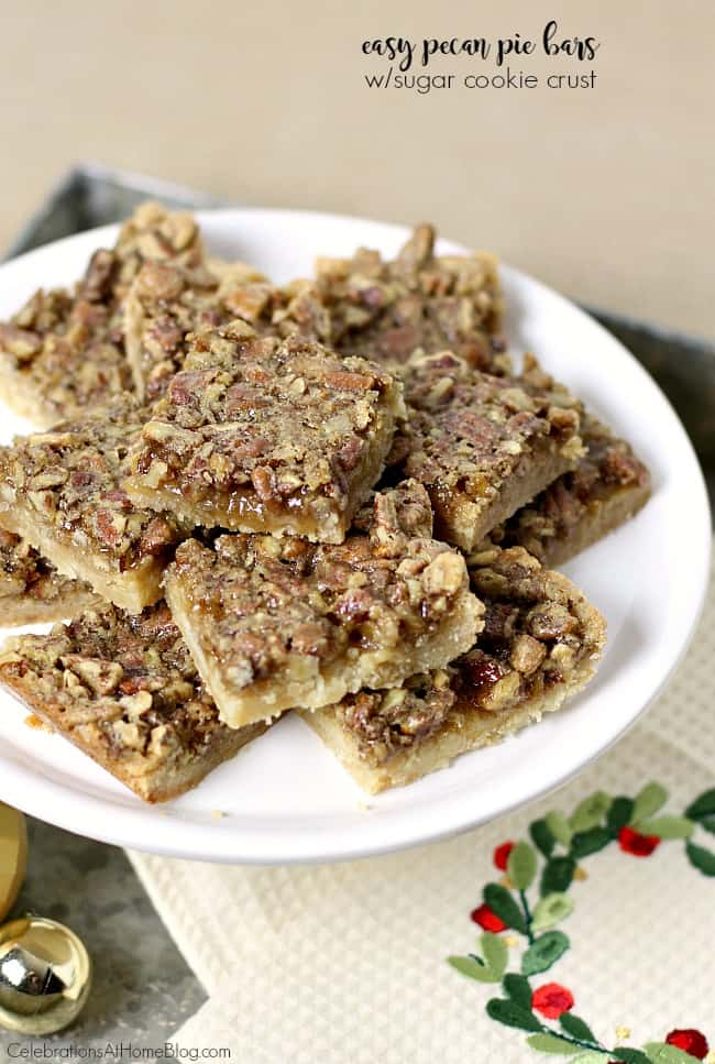 You'll love these easy pecan pie bars with sugar cookie crust. It's like two treats in one!