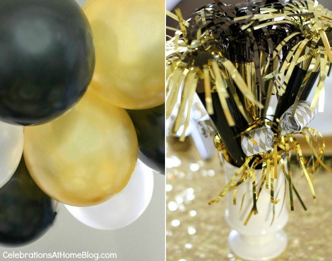 golden glam NYE decor