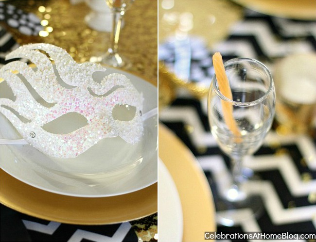 golden glam NYE table decor