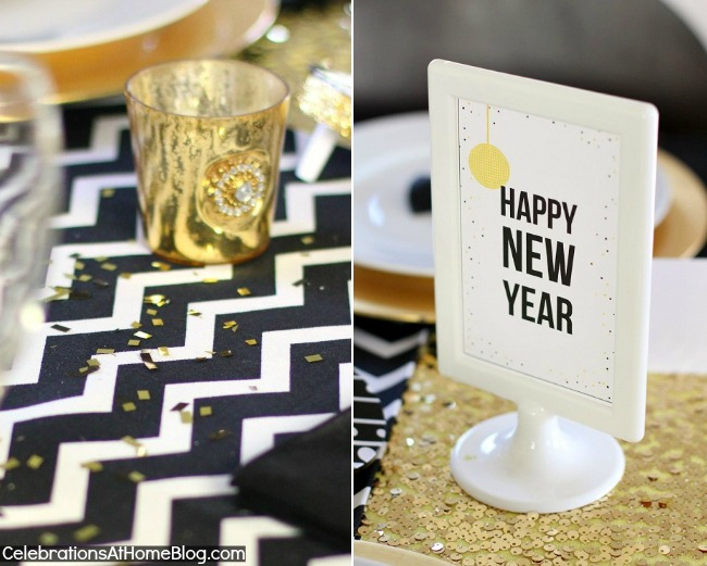 golden glam NYE tabletop