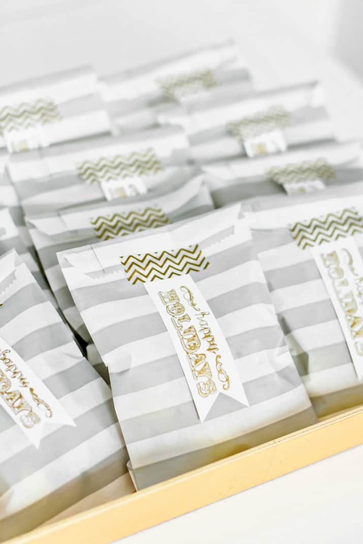 striped gold and silver holiday favor bags