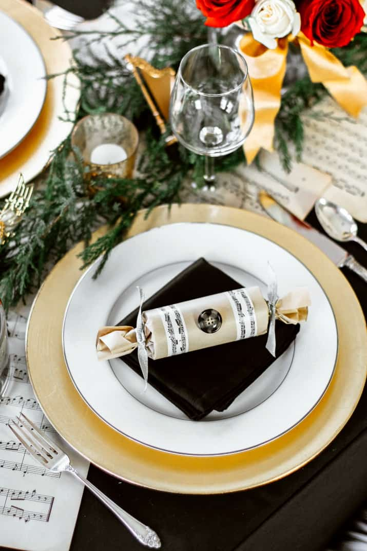 music theme Christmas tablescape
