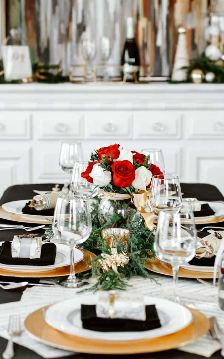music themed Christmas table setting