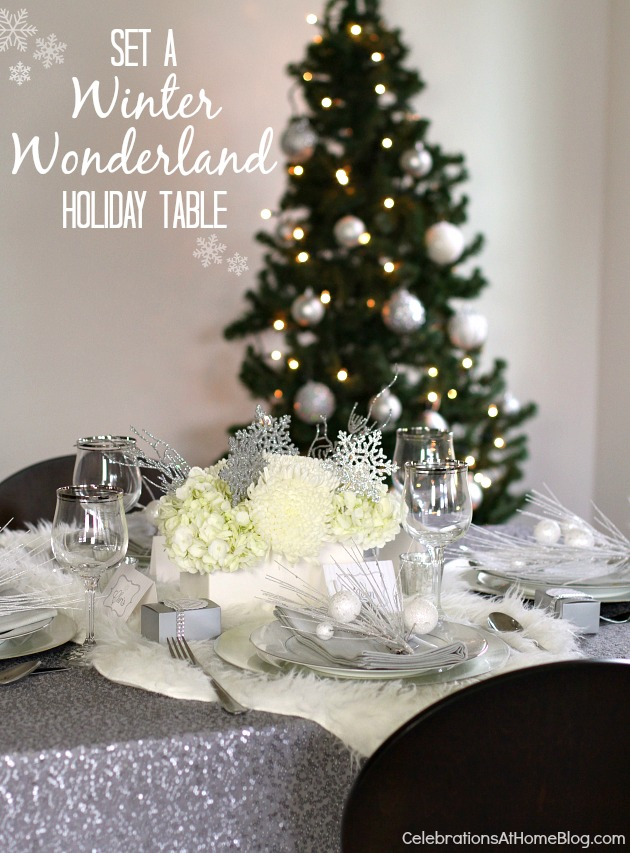winter wonderland holiday tablescape