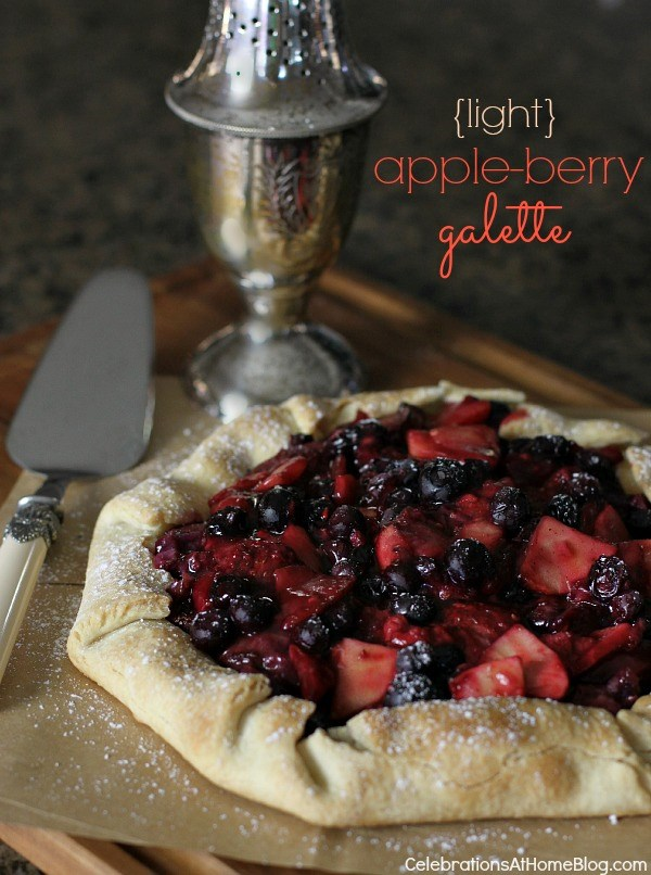 "This apple-berry galette looks pretty for entertaining and gets a ""lighter"" makeover."