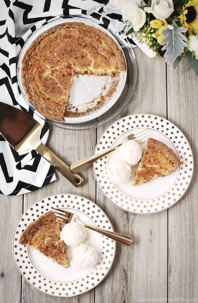This Delicious Chess Pie Recipe has been handed down from family member to family member. Get the recipe here, and serve it at all your holiday gatherings and celebrations. #pie #chesspie #dessert #baking #holidaydessert