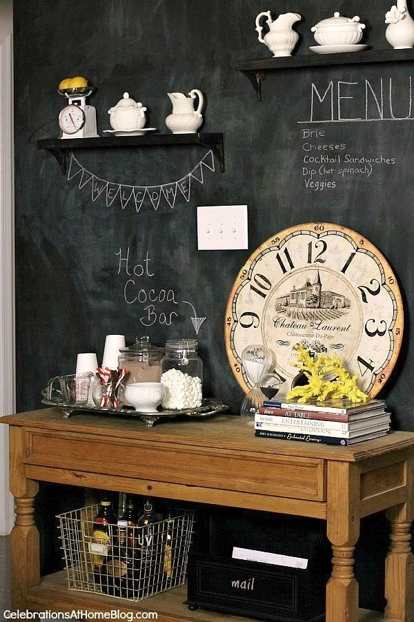 How to set up a hot cocoa bar; inspiration and ideas with chalkboard wall.