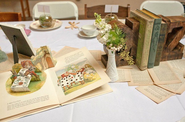 Story book themed baby shower tablescape