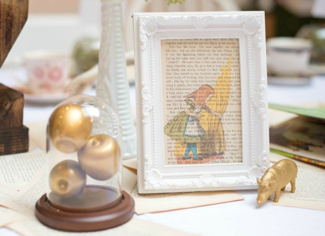 Story book themed baby shower decor, framed book page
