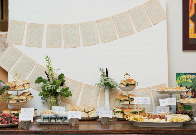 Story book themed baby shower banner and food table