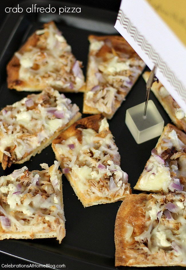 3 delicious pizza combos - For the seafood lover this crab Alfredo pizza is a party on a plate.