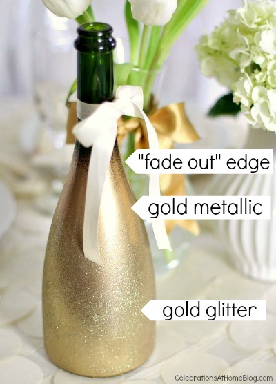 Diy ombre style gold glittered bottle celebrations at for Decorating wine bottles with glitter