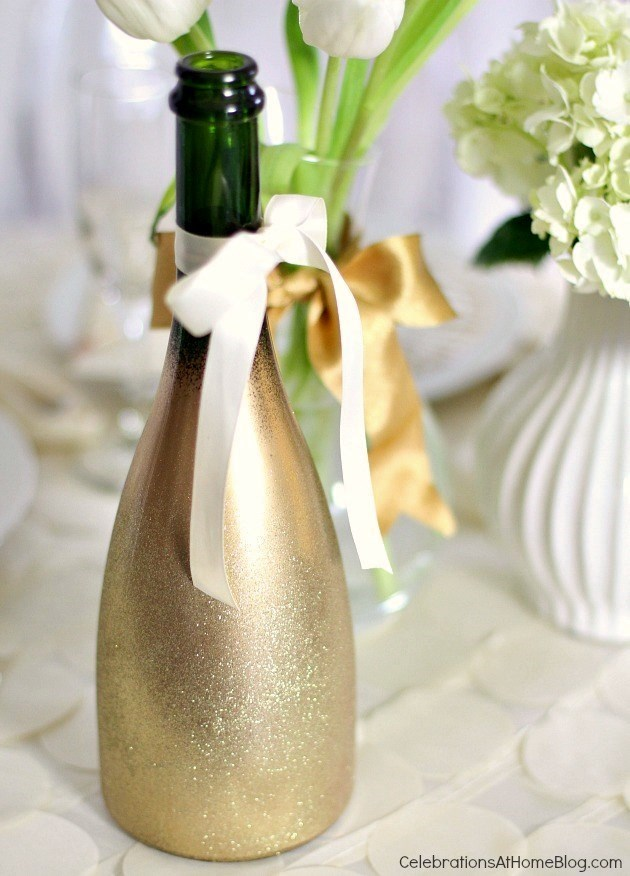 diy glitter gold champs bottle