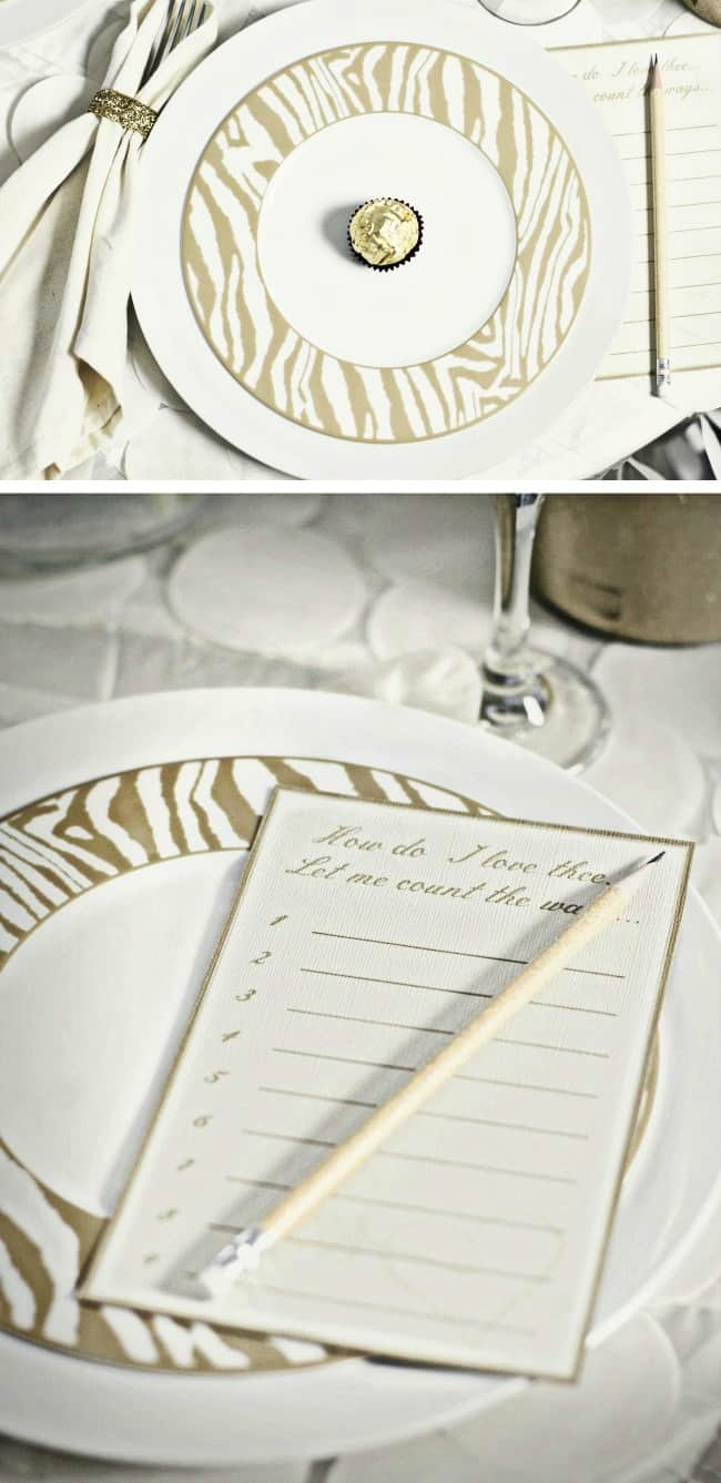 Set a Romantic Table for Two in gold and white, and celebrate Valentine's Day or an anniversary. Includes FREE printable love notes too! #ValentinesDay #goldWhiteTablescape