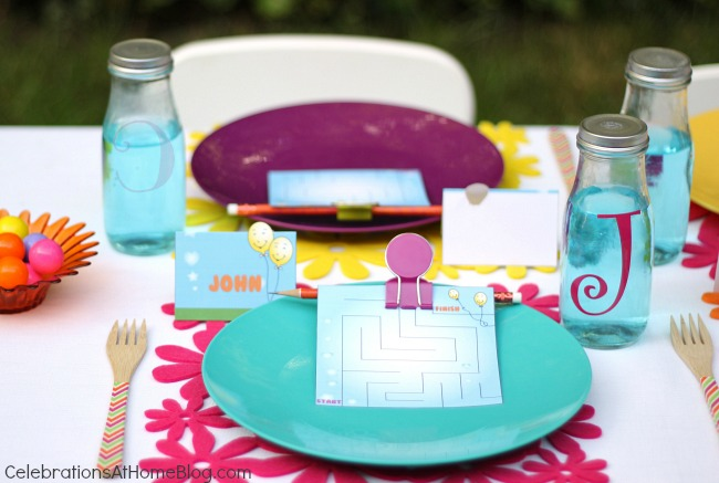 kids party table setting