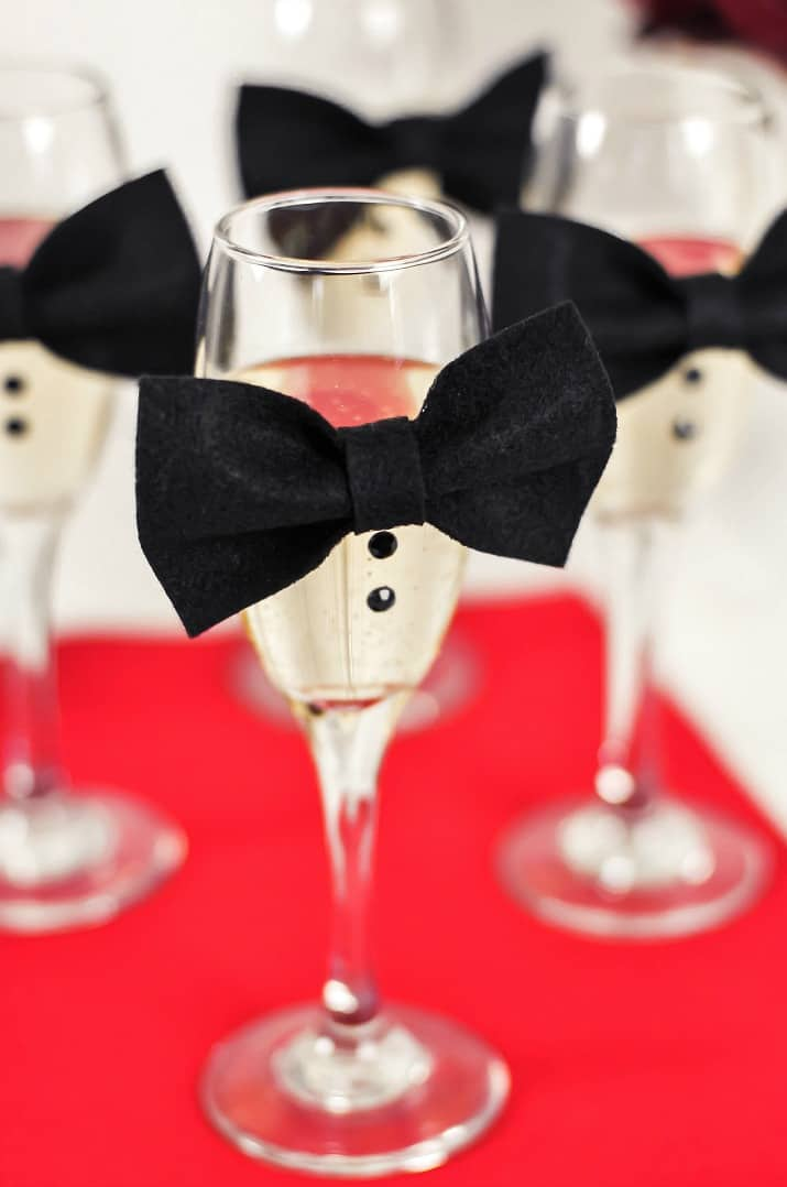 party decor for champagne flutes