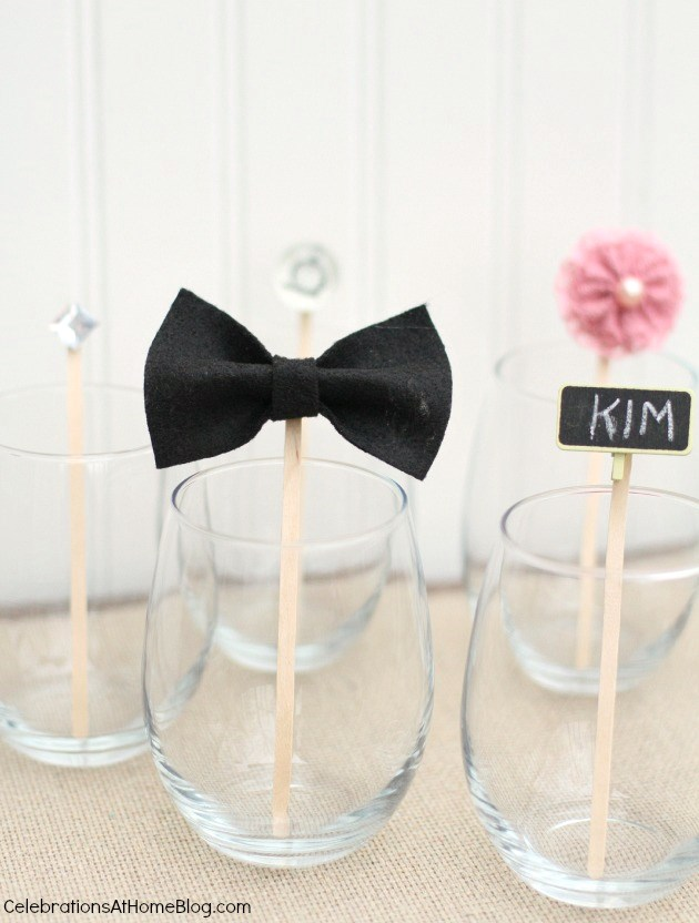 mini bowtie drink stir sticks