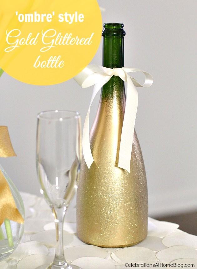 Ombre Style Gold Glittered Bottle Diy