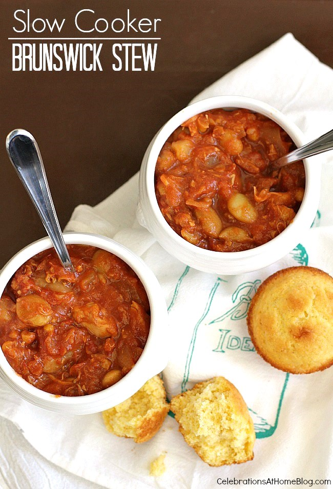 Slow cooker Brunswick stew recipe perfect for winter meals, entertaining at home, or game day parties.