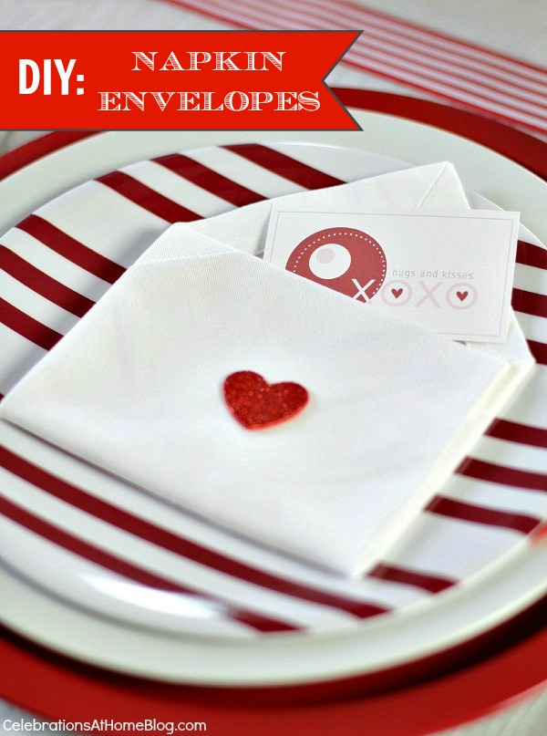 valentines day napkin envelopes #diy