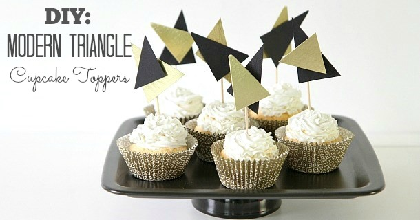 diy modern triangle cupcake toppers