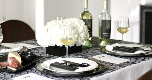 black and white dinner party