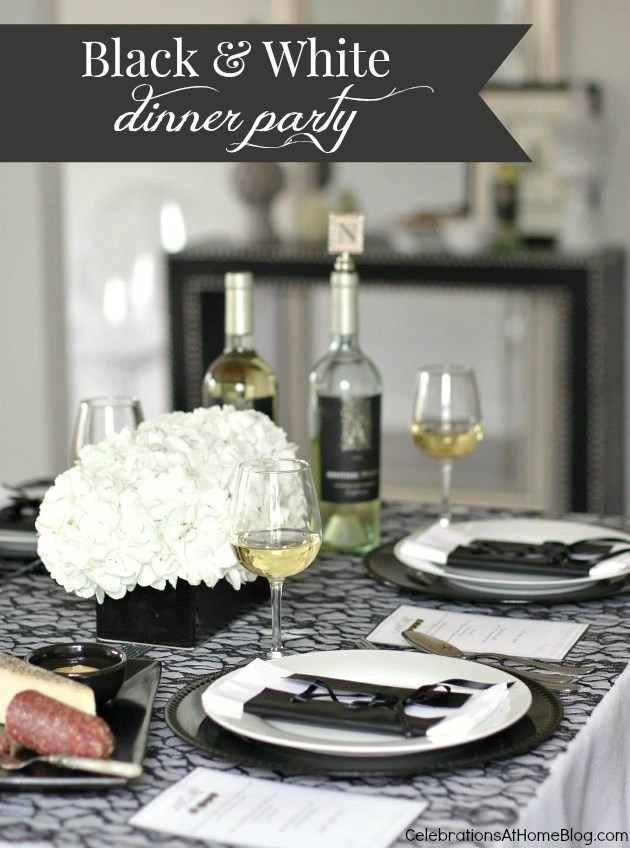 Black white dinner party tablescape celebrations at home for Black and white tablescape ideas
