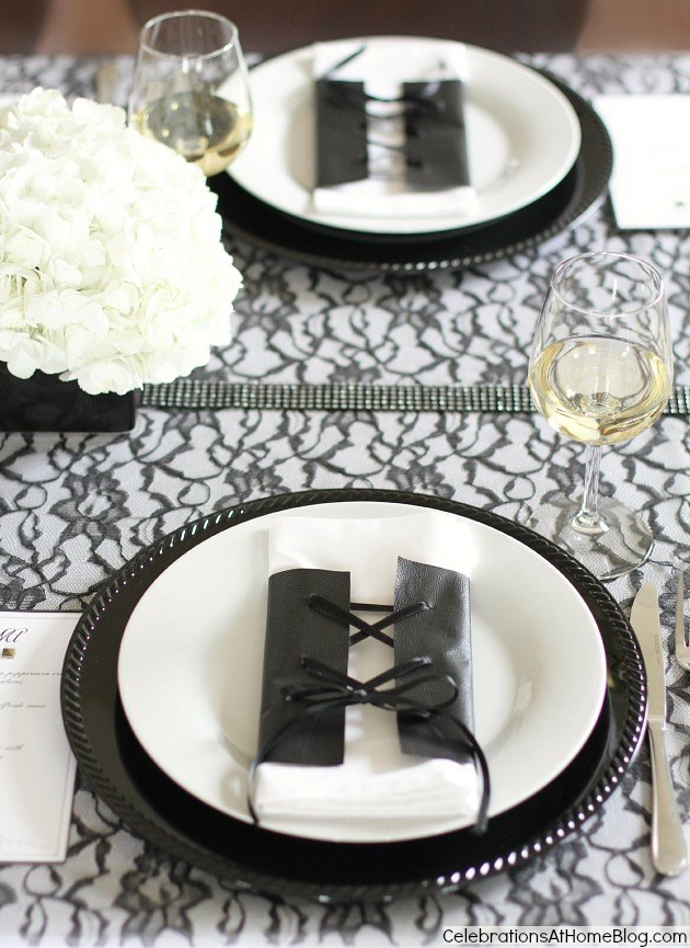 black white dinner party