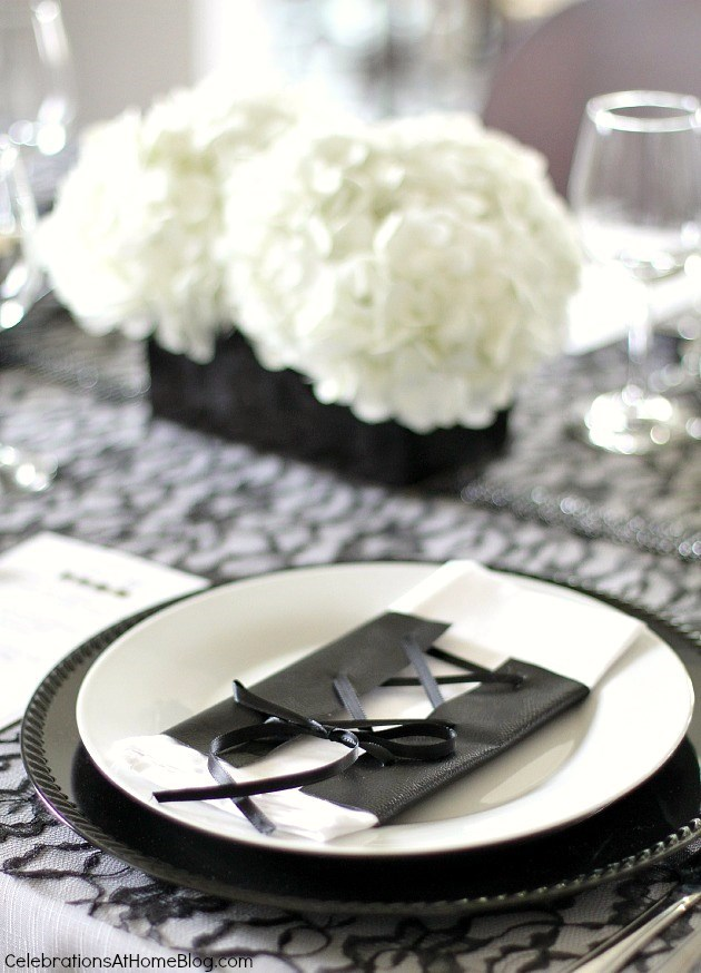 This Black White Dinner Party Is A Play On Opposites Combining Leather Lace