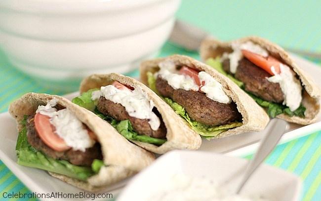 Greek burgers with tzatziki sauce