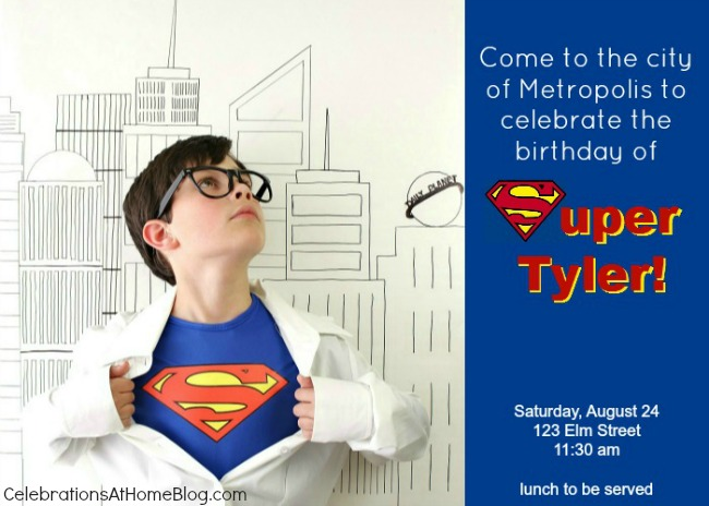 5 steps to a fun Superman party-INVITATION