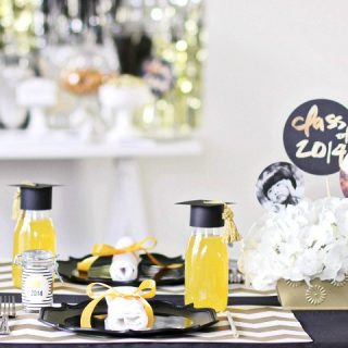 graduation party ideas, black and gold