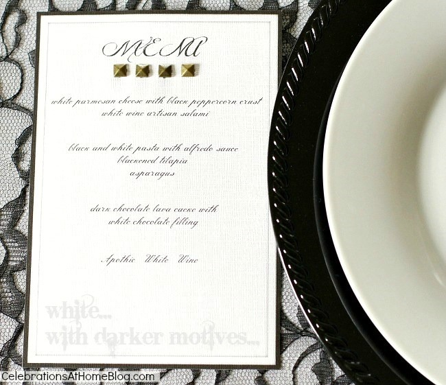 black white dinner party menu