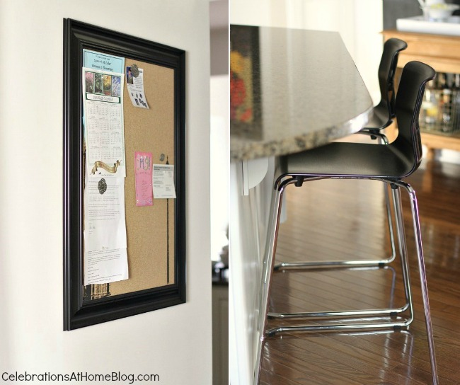 bulletin board and counter stools