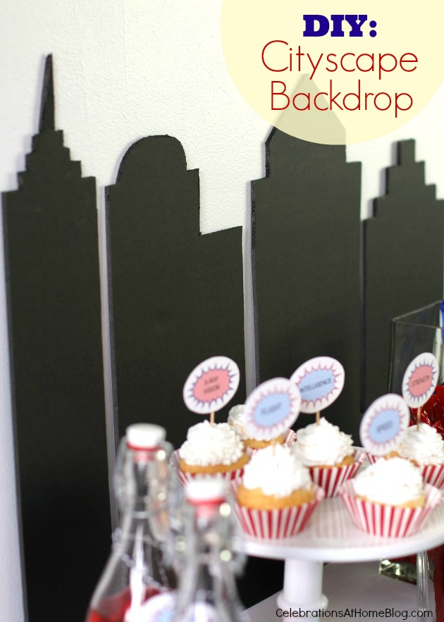 city backdrop #diy #supermanparty #superhero #backdrop