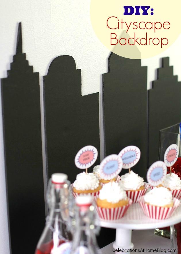 city backdrop #diy #supermanparty #superhero #backdrop