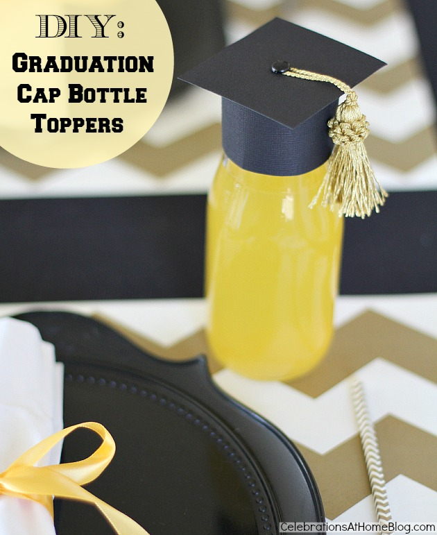 graduation party - graduation cap bottle toppers
