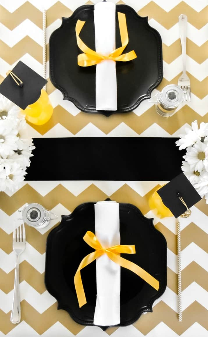 graduation tablescape, black and gold