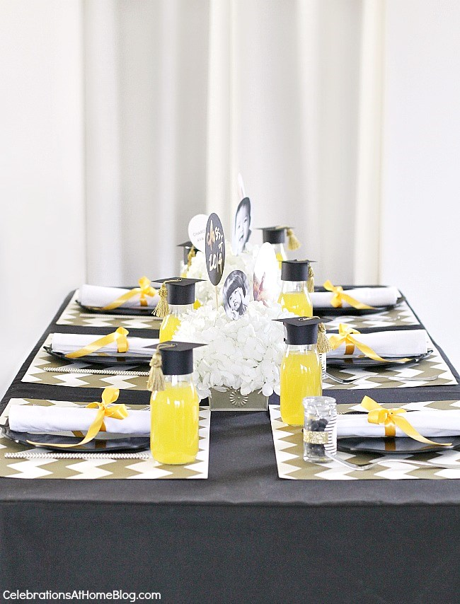 add some modern style to a classic graduation party color palette