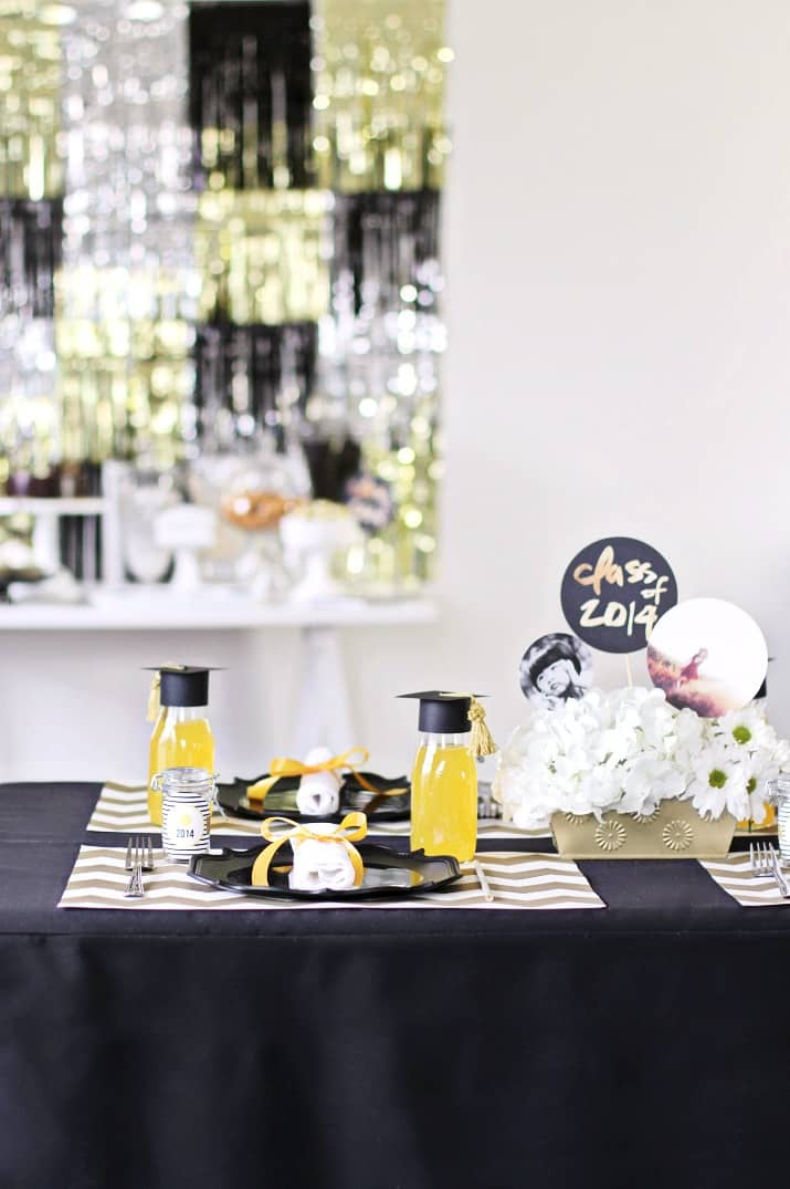 graduation party ideas classic black and gold