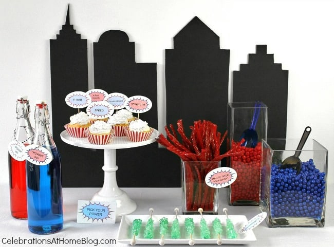 5 simple ideas for a fun Superman party; candy table